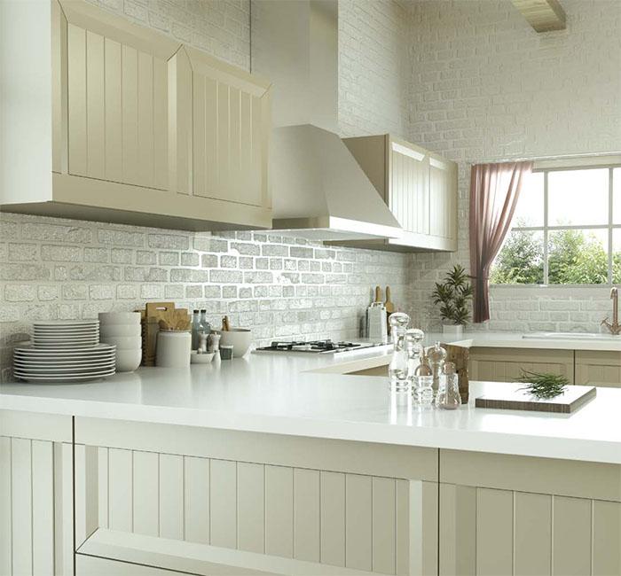 Cocina muebles diseño lacado campana decorativa moderno crema mate Trecoam