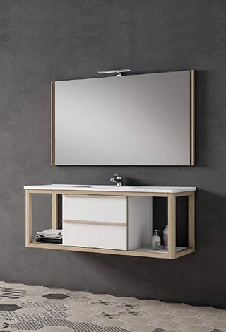 Baños muebles diseño moderno madera blanco suspendido Trecoam