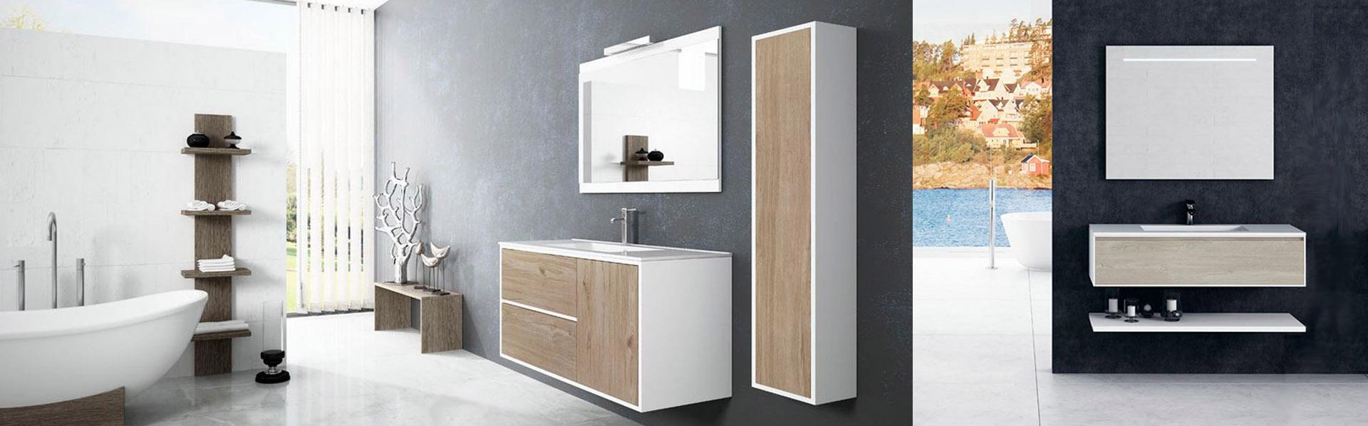 Baños muebles diseño moderno madera blanco suspendido redondo supereficies solidas corian solid surface Trecoam