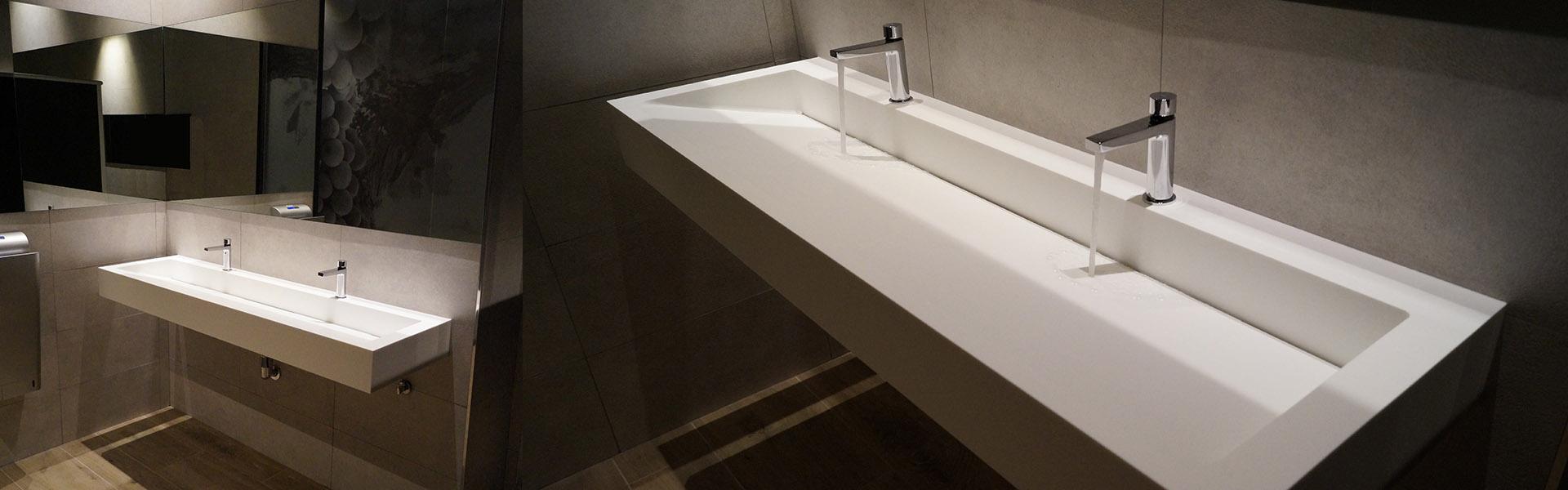Superficie solida solid surface lavabo restaurante hosteleria diseño valvula invisible corian lg hi-macs staron krion avonite glacier white Trecoam