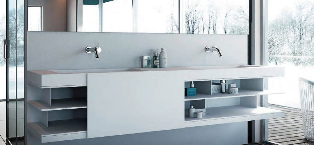 Superficie solida solid surface baño diseño corian lg hi-macs staron krion avonite glacier white Trecoam