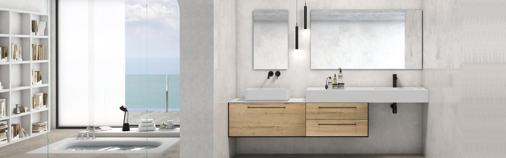 Baños muebles diseño moderno madera blanco suspendido colgado Trecoam