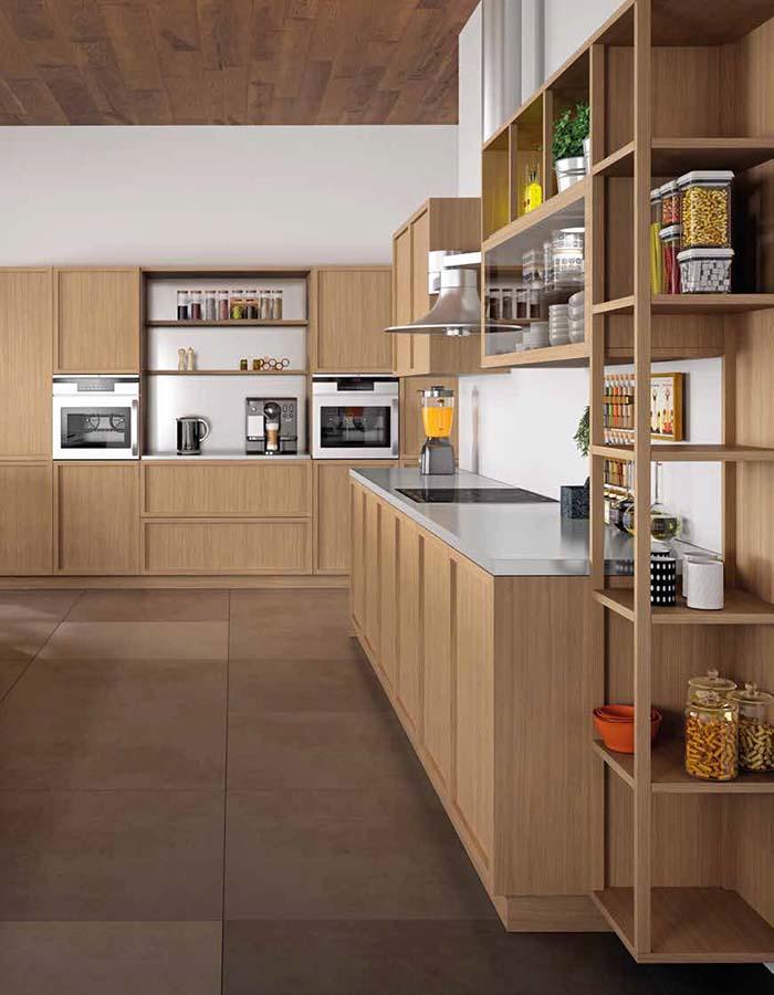 Cocina muebles diseño lacado columna moderno gris mate Trecoam