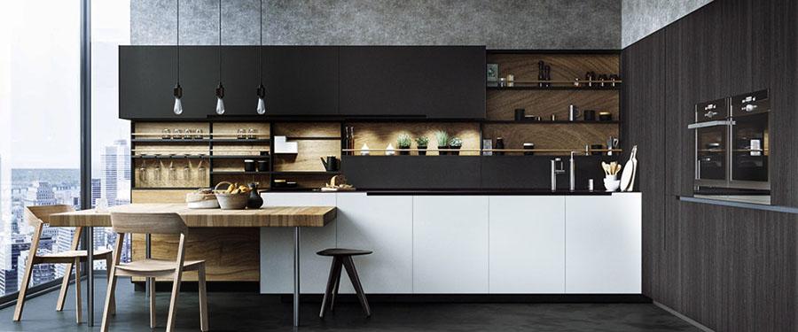 Cocina muebles diseño isla peninsula columna moderno beige mate Trecoam