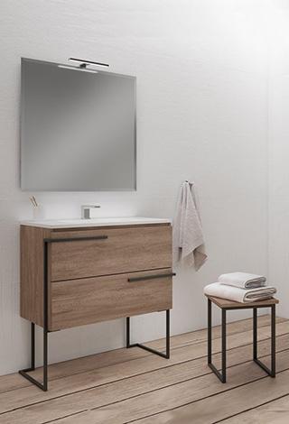 Baños muebles diseño moderno madera gris suspendido Trecoam