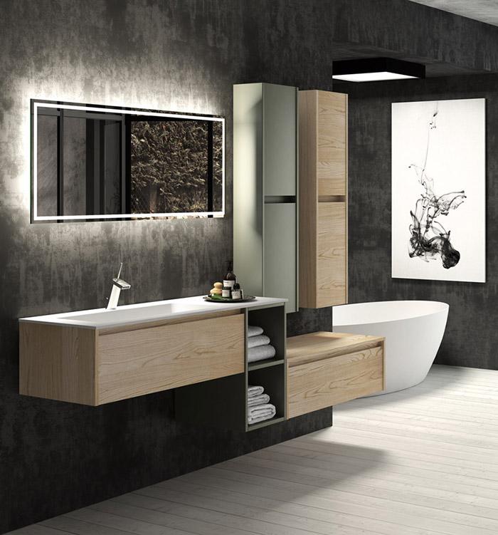 Baños muebles diseño moderno blanco suspendido solid surface supereficies solidas corian Trecoam