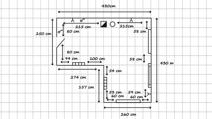 ejemplo plano medidas cocina baño